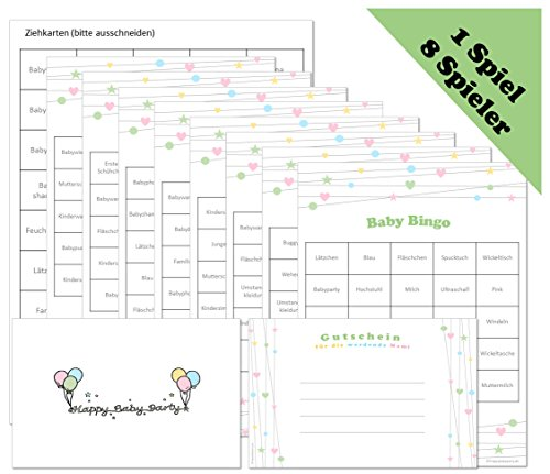 Babyparty Spiel - Baby Bingo für 8 Spieler in Deutsch (ideal als Idee und Spiel für die Babyparty / Baby Welcome Party / Baby Shower Party)