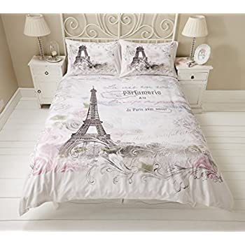 parure housse de couette lit 1 personne chambre enfant paris tour eiffel 100 coton. Black Bedroom Furniture Sets. Home Design Ideas