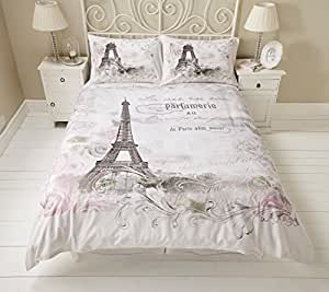 bettw sche set paris eiffelturm mit blumenmuster wendebettw sche einzelbett. Black Bedroom Furniture Sets. Home Design Ideas
