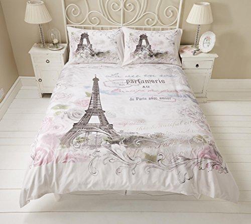 Bettwäsche Set - Paris, Eiffelturm mit Blumenmuster, Wendebettwäsche - Einzelbett