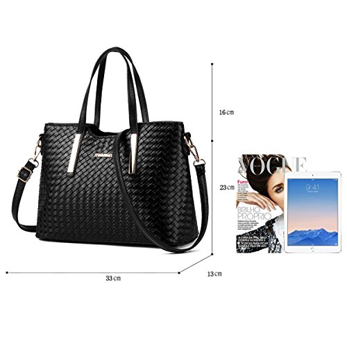 Tisdain Nuovo modello Femminile Borsa a mano Moda Portafoglio tessere Set di 7 borse Borsa messenger nero