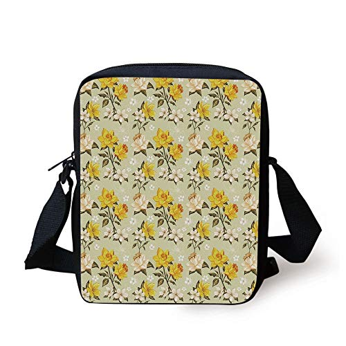 CBBBB Floral,Spring Season Image with Foliage and Dotted Background with Line Art Decorative,Yellow Tan Pale Green Print Kids Crossbody Messenger Bag Purse