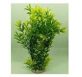 Goofy Tails Yellow Green Plastic Plant For Aquarium Decoration (24 cm)