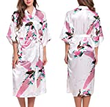 ADORNEVE Women's Satin Kimono Robes Peacock Blossoms Long Bathrobe