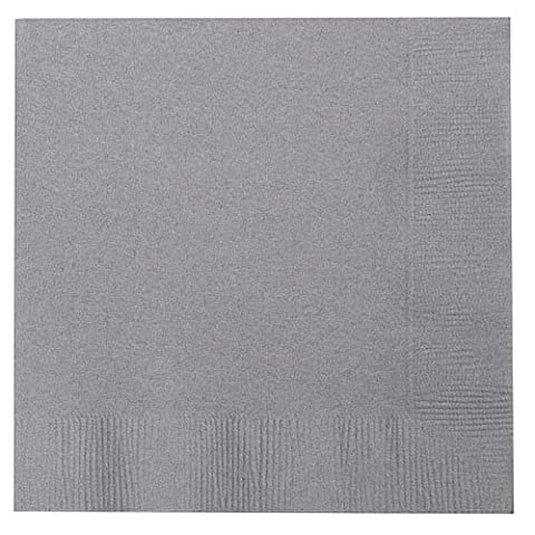 Thali Outlet - 250 x Grey 2 Ply 33cm 4 Fold Paper Napkins Tissue Serviettes For Birthdays Weddings Parties All Occasions