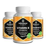 3 Dosen Vitamin B Komplex hochdosiert vegan 6 Monatsvorrat Vitamin B1, B2, B3, B5, B6, B7, B9, B12 Qualitätsprodukt-Made-in-Germany ohne Magnesiumstearat, 30 Tage kostenlose Rücknahme!