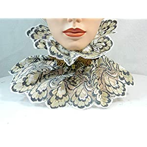 Halsband creme gold Fledermaus Steampunk Viktorianisch Barock Rokoko Halskrause Choker