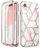 i-Blason iPhone XR Hülle Glitzer Handyhülle Ganzkörper Bumper Case Glänzend Schutzhülle Cover [Cosmo] mit integriertem Displayschutz für iPhone XR (6.1 Zoll) 2018 (Marmor)