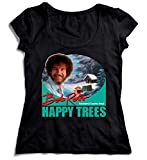 MYMERCHANDISE Bob Ross Happy Trees Television Nice Favourite Artist Damen T-Shirt Black Men's Shirt Baumwolle Cotton Damen MD Women Black T-Shirt