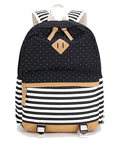 Mädchen Schulrucksack Teenager schultasche Damen Canvas Rucksack Outdoor Freizeit Daypacks Backpack Cityrucksack für Schüler Schwarz2