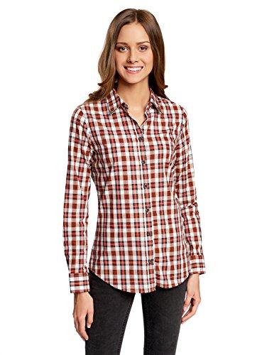 oodji Ultra Damen Baumwoll-Hemd mit Verzierung Am Kragen, Rot, DE 36/EU 38/S (Bluse Hemd Western)