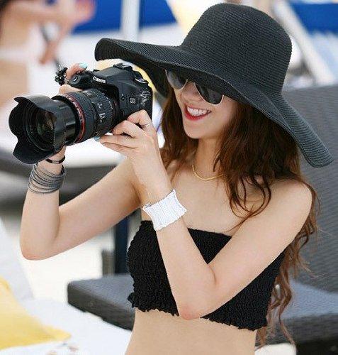 Upper-Mesdames Chapeau de paille poussée pare-soleil au printemps et en été locations grand eaves Cap Beach Hat chapeau de soleil Black