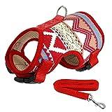 CHUNXU Hundegeschirr und Leine, weich, Bedruckt, für kleine und mittelgroße Hunde, Teddy, Chihuahua, Weste S, M, L, XL