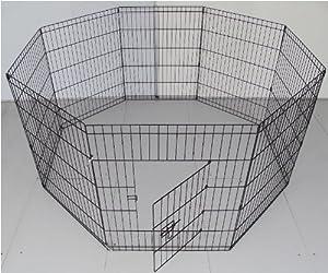Dog Puppy Pet Rabbit Guinea Pig Play Pen Run 8 Panel-SELECT YOUR SIZE and COLOUR -76cm x 61cm (30inches) (Medium 76cmH x 61cmW Panel (x8), Black) by BCW Ltd