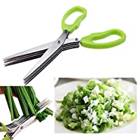 PETRICE Multifunction 5 Blade Vegetable Chopper Stainless Steel Herbs Scissor In Kitchen Use (Colour May Vary)