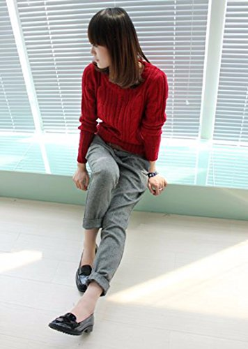 Femmes Mode Manches Longues En Maille Pull Slim Pull Hauts Tricots Jumper vin rouge