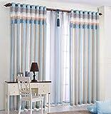 Yushi Blau gestreifte Vorhänge Moderne minimalistische Vorhänge 2 X Blackout Vorhänge mit Öse 57
