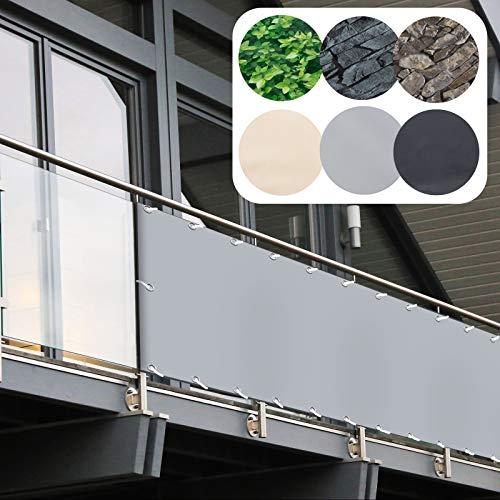 Balkon Sichtschutz PVC   90x600 cm   Extra Blickdicht   Balkonverkleidung aus wetterfestem Kunststoff mit UV-Schutz   Deko für Balkongeländer, Terrasse & Garten   viele Farben & Designs (Grau)