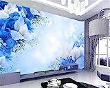 YSDECOR Papel Pintado Mural De La Moda De Interior Pintura De Papel De Pared Azul Sueño Moda Flor Tv Pared Papel De Pared 3D