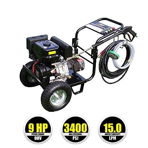 Kiam KM3400P 9hp Industrial Petrol Pressure Washer (3400PSI @ 15 Ltr/Min) High Jet Power Driveway Patio Car Block Paving Cleaner
