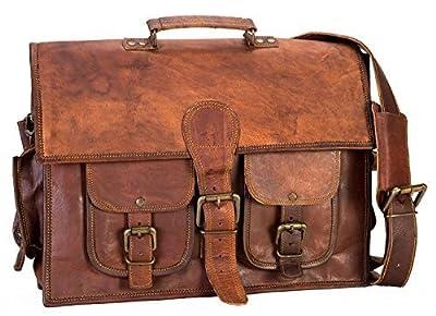 Handolederco 38,1cm Vintage Cuir Messenger Cuir Souple Mallette Sacoche en Cuir pour Ordinateur Portable Sac à bandoulière pour Homme et Femme