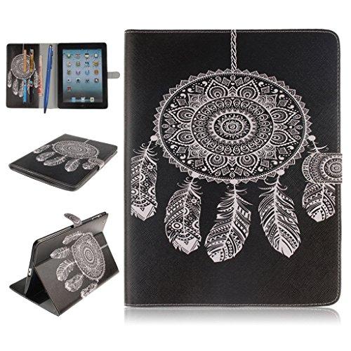 iPad 2/3/4 Funda,Careynoce Atrapasueños León Tigre Pattern Flip PU Cuero Carcasas Funda Case Cover para Apple iPad 2 iPad 3 iPad 4 (9.7 pulgada) - Negro Atrapasueños