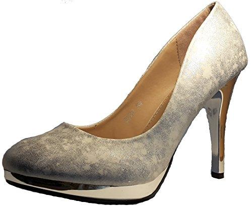 Talons hauts, Stiletto Pumps High Heels, bleu, noir, rouge, beige, or, perle-blanc/argenté, rosé, marron, vert, turqoise, gris ou bleu-gris, avec / sans boucle, modèle 11064102001500. Perle blanc / argenté.