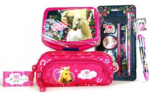 7 tlg. Pferde-Set - Schlamper -Etui / Federmäppchen / Stiftetasche mit Extra Reißverschlusstasche...