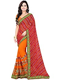 C J Enterprise Women's Georgette Kutchhi Hand Work Bandhani Saree With Blouse Piece
