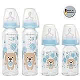 NIP Glas Flasche Uni // 4er Set // Glas-Babyflasche // 2 x Standardglasflasche 250 ml Trinksauger Gr. M // 2 x Standardglasflasche 125ml Trinksauger Gr. S //