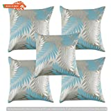 GOLDENIZE™FIROZI SET OF 5 TROW CUSHION PILLOW COVER DECROATIVE POLYSTER SILK SQUARE CUSHION COVER OUTDOOR COUCH SOFA HOME PILLOW COVER 12X12INCH (30CMX30CM) MADE IN INDIA.PRODUCT ID:P1_12X12