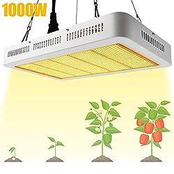 Derlights LED Pflanzenlampe 1000W Grow Lampe Pflanzenlicht Vollspektrum LED Grow Light mit IR UV wachstumslampe für Pflanzen Gewächshaus Samen Knospe Gemüse und Blüte