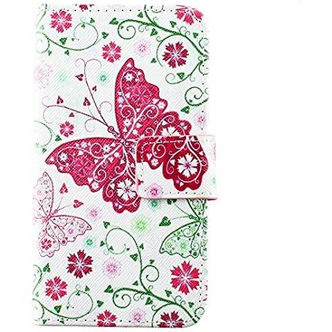 Beiuns Funda de PU piel para LG L70 Carcasa - K104 mariposa de Primavera