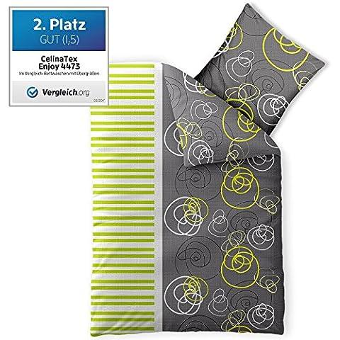 Bettwäsche 155x220 100% Baumwolle Seersucker Marken Qualität | CelinaTex Enjoy Design Andrea grau weiß grün
