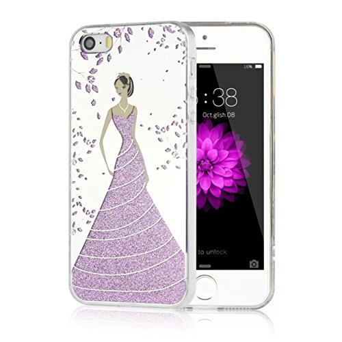 MOONCASE iPhone 5 Coque, Bling Glitter Etui TPU Silicone Antichoc Housse Case pour iPhone 5 / 5s / SE (Rose Fille - Or) Fleur Fille - Violet