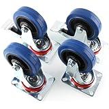 MVpower Lot de 4pcs Ruedas Giratorias con Freno(2 x Estándar, 2 x de Freno), Ruedas de Transporte para Carritos Muebles (100mm)