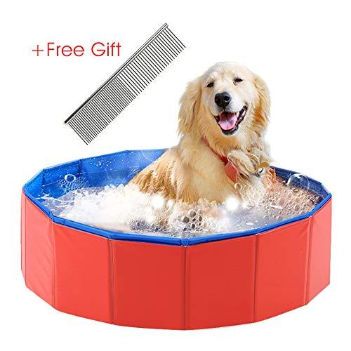 Asbyfr - Bañera y piscina plegable de PVC para perros y gatos pequeñ