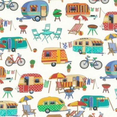 Nutex Stoff NU087, Retro-Design, Urlaubsmuster, Wohnwagen auf cremefarbenem Stoff, auf 0,5m,100{c55f90920b071a0fd1e946efdc935cb741ddb81e6dbdf65408a595ac38883f73} Baumwolle