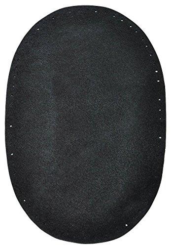 1 Stk. Wildleder - echtes Leder - Flicken - schwarz - 10 cm * 15,5 cm - oval - Aufnäher zum Aufnähen / Applikation XL Format (Wildleder Applikationen)