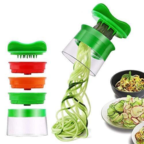 Affetta verdure affettatrice a spirale spiralizzatore spiralizer creativo taglierina mano con 3 lame, vegetali affettaverdura per carote, cetrioli, patate, zucca, zucchine - verde