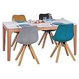 WOHNLING Esszimmertisch 160-220 x 76 x 90 cm aus MDF Holz | Esstisch mit Tischplatte ausziehbar in weiß | Robuster Küchen-Tisch im Retro Stil | Auszieh-Tisch in skandinavischem Design | Untergestell in Eschefurnier