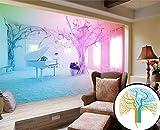 Art_wall_mural 3D Tapete Wallpaper 2016 Fantasy Foto Pink Piano Schnee Wallpaper Individuelle Tapeten Für Wände 3D Moderne Tapete Wandmalerei Fresko Mural 200cmX150cm