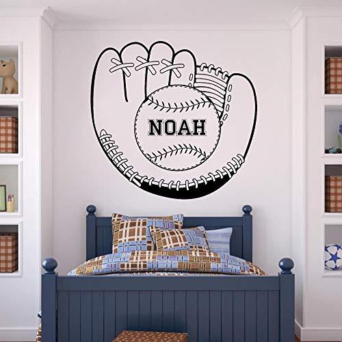 BFMBCH Baseball Handschuhe und Ball Wandaufkleber Vinyl Applique Custom Name Wandaufkleber Boy Room Wand Art Deco Wandaufkleber 12 hellblau 60x57 cm