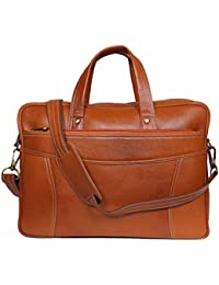Raicon 15.6 Inch Genuine Leather Laptop Office Bag In Tan Color