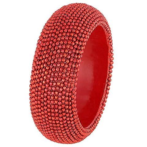 Indian Costume Jewellery Red Beaded Bangle Bracelet Handmade in India