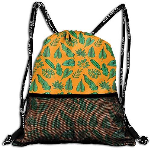 ZHIZIQIU 3D Print Drawstring Bags Bulk, Beautiful Leaves Unisex Outdoor Rucksack Shoulder Bag Travel Drawstring Backpack Bag Size: 4133cm -