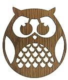 Laser Cut impiallacciatura di legno rotondo Owl Wall Art (25centimeters x 21centimeters)