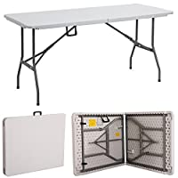 Gr8 Garden New Compact Foldable 6ft Heavy Duty Folding Catering Camping Trestle Picnic Garden Patio BBQ Party Table, White 2
