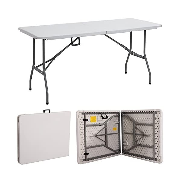 Gr8 Garden New Compact Foldable 6ft Heavy Duty Folding Catering Camping Trestle Picnic Garden Patio BBQ Party Table, White 1