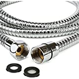 """H&S 1.75m (69"""") Stainless Steel Replacement Shower Hose Anti-Kink with 2 Washers - Chrome"""